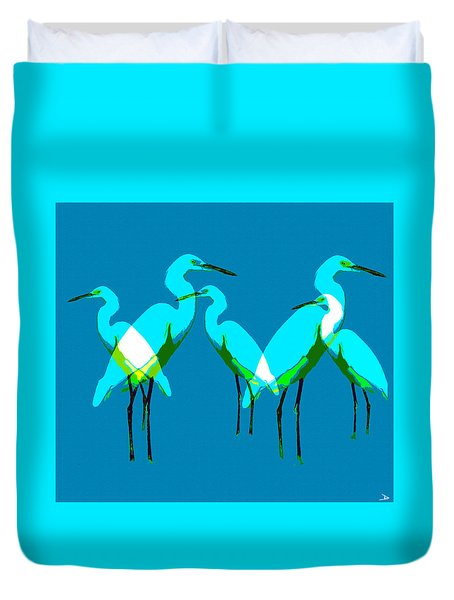 Duvet Cover featuring the painting Five Egrets by David Lee Thompson