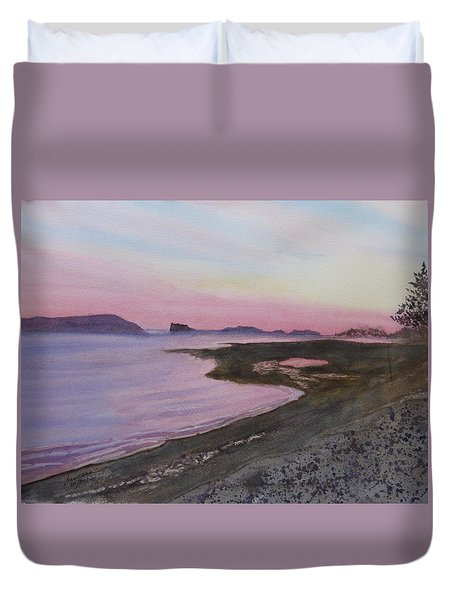 Duvet Cover featuring the painting Five Islands - Bay Of Fundy by Joel Deutsch