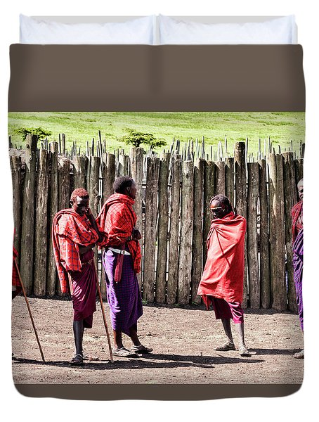 Five Maasai Warriors Duvet Cover