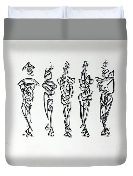 Duvet Cover featuring the drawing Five Muses by James Lanigan Thompson MFA