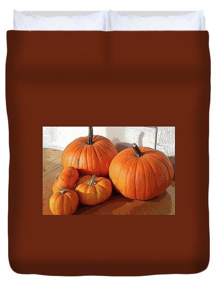 Five Pumpkins Duvet Cover