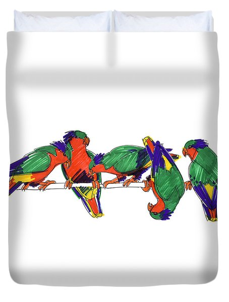 Duvet Cover featuring the drawing Five Rimatara Lorikeets by Judith Kunzle