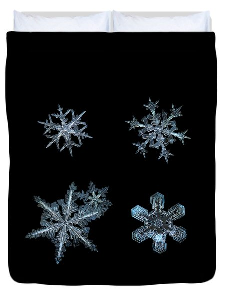 Duvet Cover featuring the photograph Five Snowflakes On Black 3 by Alexey Kljatov