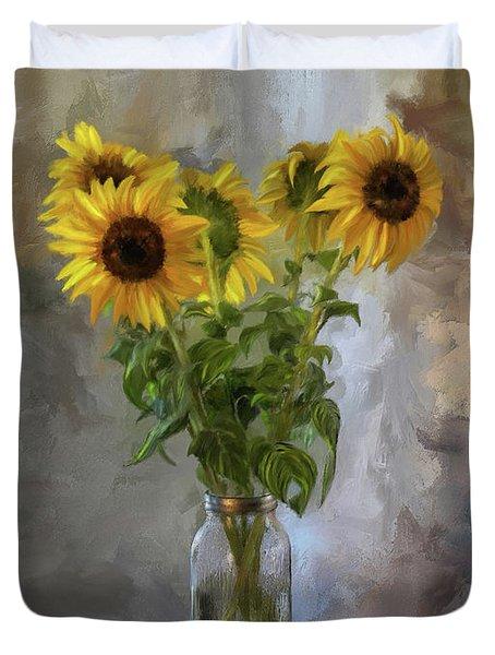 Five Sunflowers Centered Duvet Cover