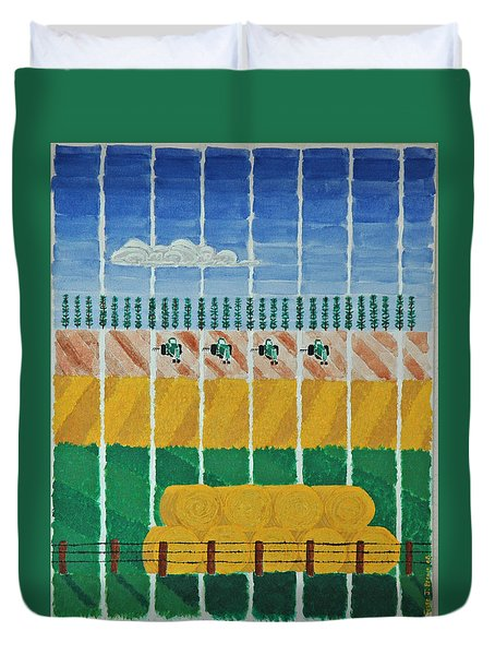 Five Tractors Duvet Cover