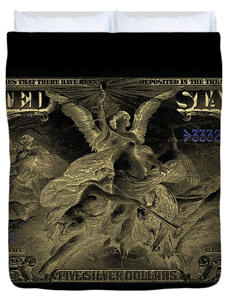 Duvet Cover featuring the digital art Five U.s. Dollar Bill - 1896 Educational Series In Gold On Black  by Serge Averbukh