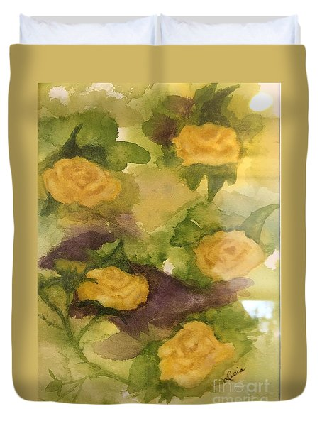 Duvet Cover featuring the painting Five Yellow Roses by Lucia Grilletto