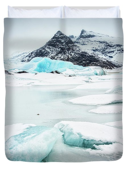 Duvet Cover featuring the photograph Fjallsarlon Glacier Lagoon Iceland In Winter by Matthias Hauser