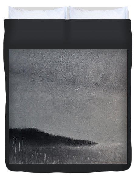 Duvet Cover featuring the painting Fjord Landscape by Tone Aanderaa