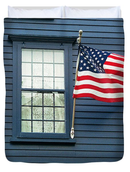 Duvet Cover featuring the photograph Flag And Lace by Kenneth Campbell