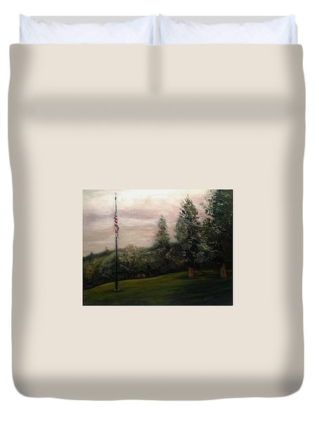 Flag Pole At Harborview Park Duvet Cover