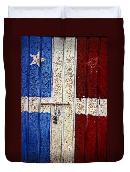 Flag Door Duvet Cover by Garry Gay