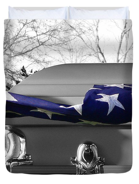 Flag For The Fallen - Selective Color Duvet Cover by Al Powell Photography USA