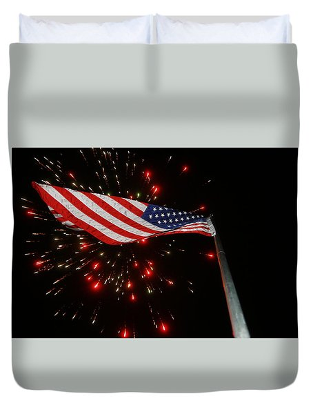 Duvet Cover featuring the photograph Flag In All Its Fiery Glory by Shirley Heier