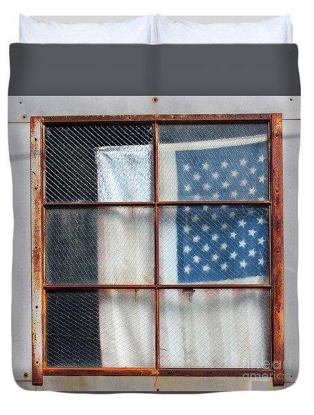 Flag In Old Window Duvet Cover