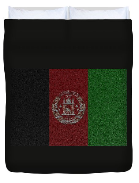 Flag Of Afghanistan Duvet Cover by Jeff Iverson