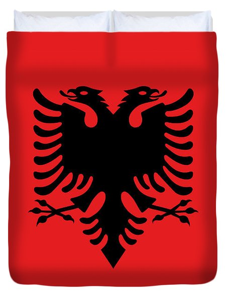 Duvet Cover featuring the digital art Flag Of Albania Authentic Version by Bruce Stanfield