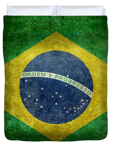 Flag Of Brazil Vintage 18x24 Crop Version Duvet Cover