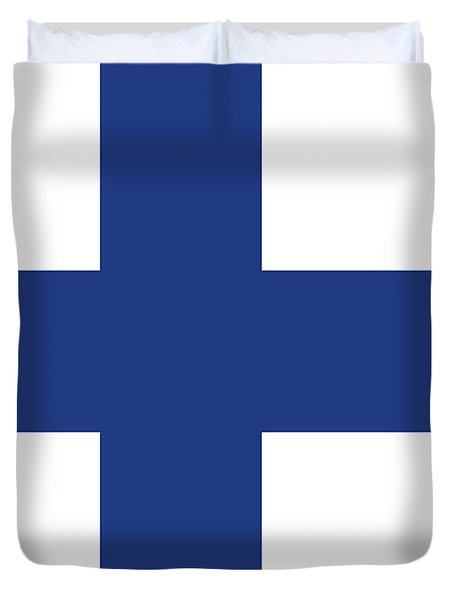 Duvet Cover featuring the digital art Flag Of Finland by Bruce Stanfield