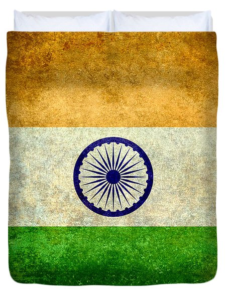 Flag Of India Vintage 18x24 Crop Version Duvet Cover