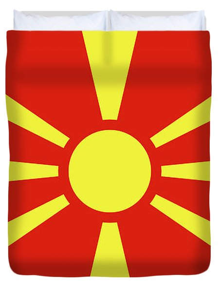 Duvet Cover featuring the digital art Flag Of Macedonia by Bruce Stanfield