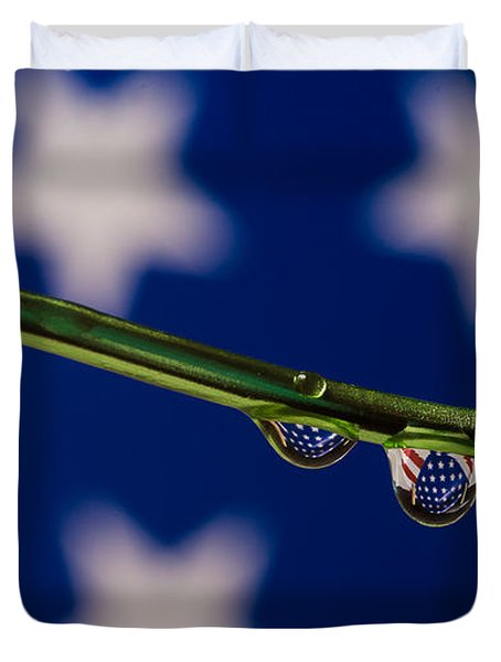 flag on a Wire Duvet Cover