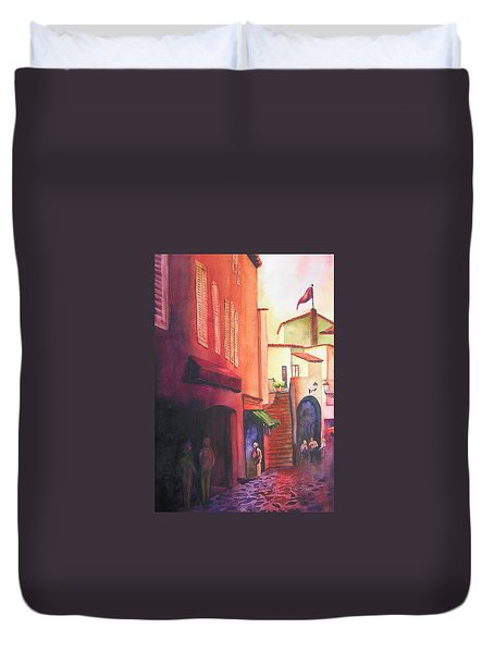 Flag Over St. Tropez Duvet Cover by Karen Stark