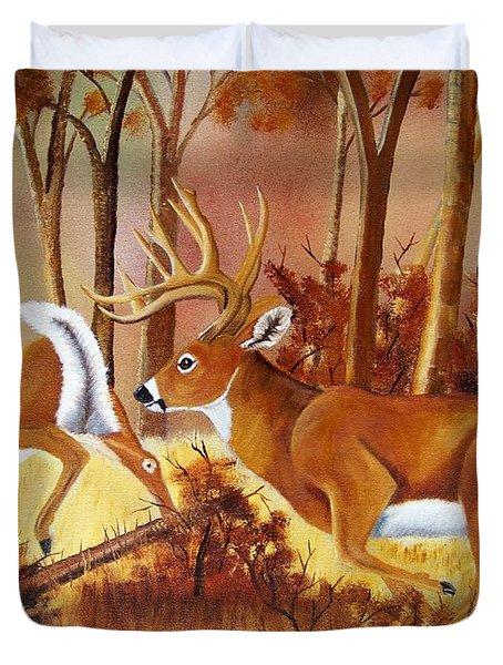 Flagging Deer Duvet Cover by Debbie LaFrance