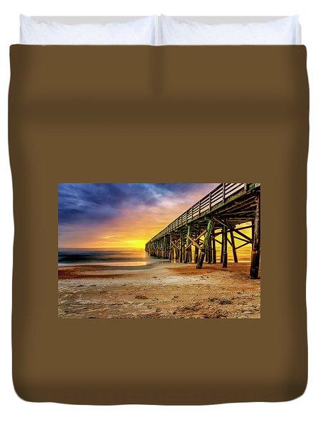Flagler Beach Pier At Sunrise In Hdr Duvet Cover