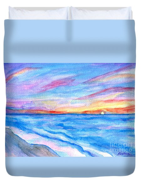 Duvet Cover featuring the painting Flagler Beach Sunrise 2 by Roz Abellera Art