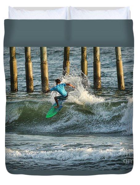 Flagler Beach Surf Day Duvet Cover