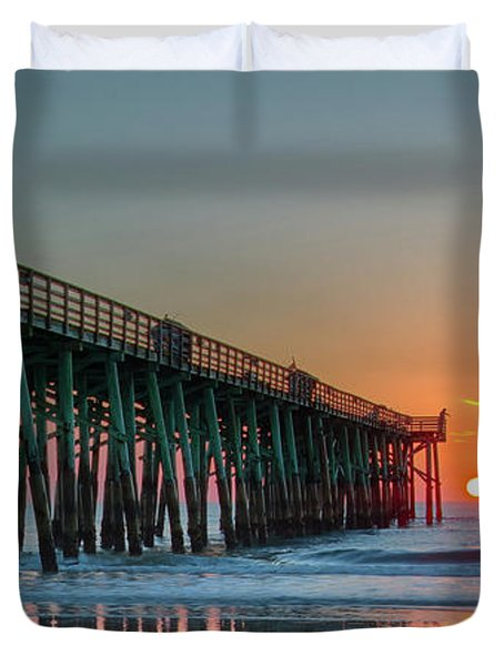 Flagler Pier Sunrise Duvet Cover
