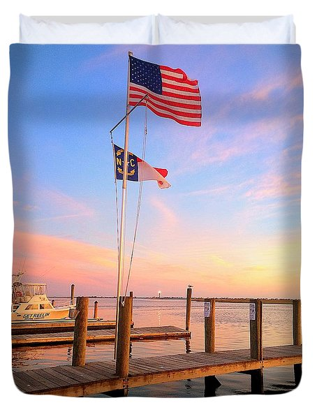 Duvet Cover featuring the painting Flags In The Sunset by Shelia Kempf