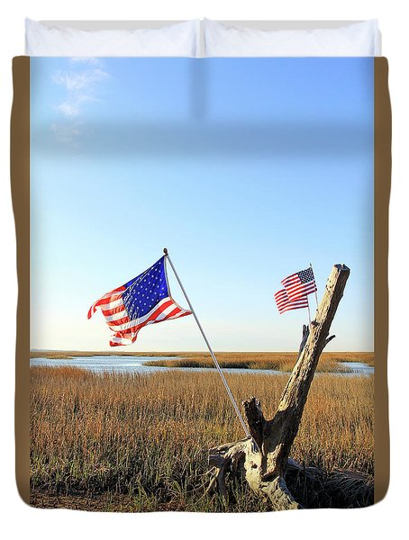 Flags Near Tybee Duvet Cover