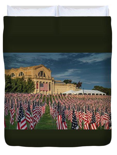 Flags Of Valor On Art Hill Duvet Cover
