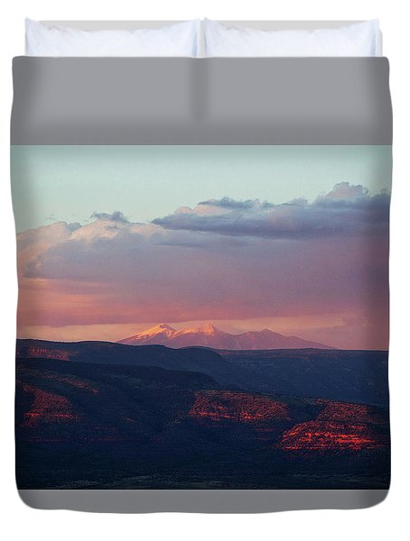 Duvet Cover featuring the photograph Flagstaff's San Francisco Peaks Snowy Sunset by Ron Chilston