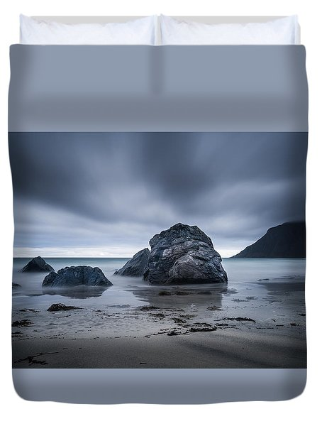 Duvet Cover featuring the photograph Flakstad Beach by James Billings