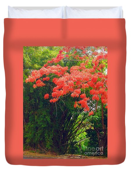 Flamboyant With Bamboo Duvet Cover by The Art of Alice Terrill
