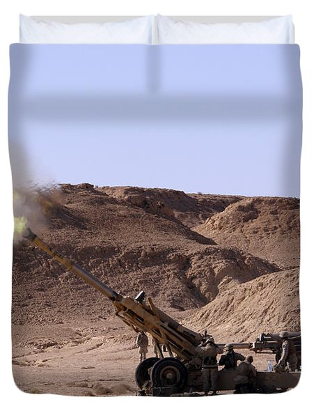 Flame And Smoke Emerge From The Muzzle Duvet Cover by Stocktrek Images