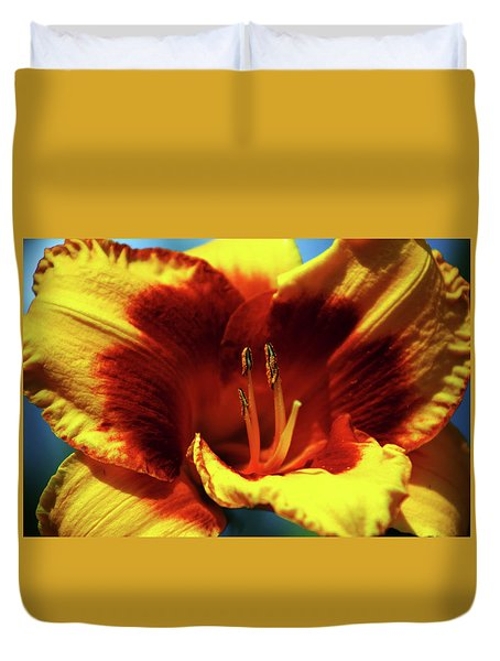Flame Daylily 1238 H_2 Duvet Cover
