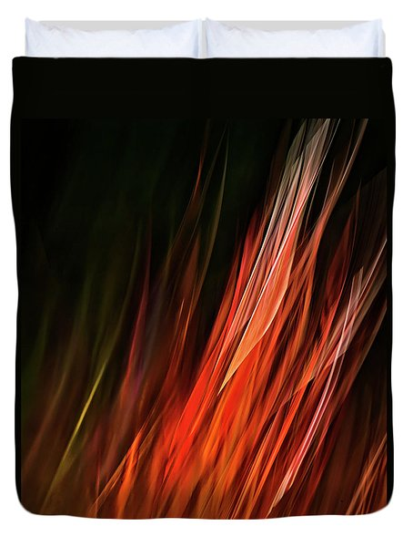 Flame Grass  Duvet Cover by Theresa Tahara