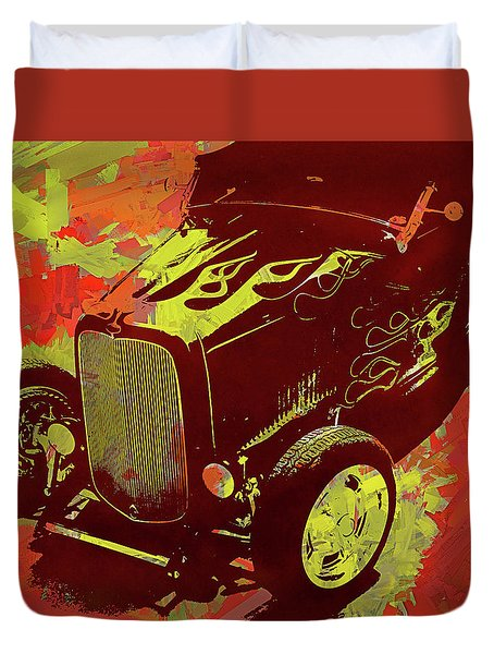 Flamed 1932 Ford Roadster Hot Rod Pop Red Duvet Cover