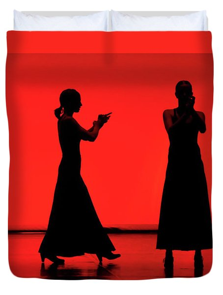 Duvet Cover featuring the photograph Flamenco Red An Black Spanish Passion For Dance And Rithm by Pedro Cardona