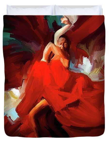 Duvet Cover featuring the painting Flamenco Dance 7750 by Gull G