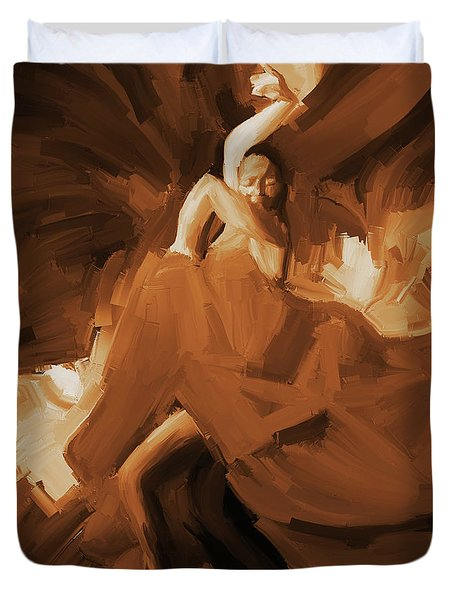 Duvet Cover featuring the painting Flamenco Flamenco  by Gull G