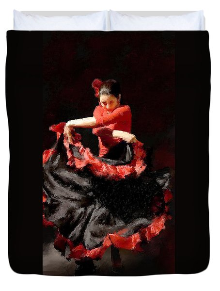 Flamenco Frills Triptych Panel 3 Of 3 Duvet Cover