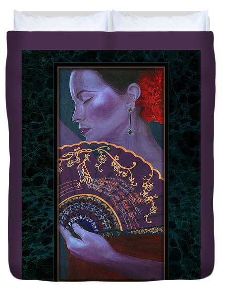Duvet Cover featuring the painting Flamenco  by Ragen Mendenhall