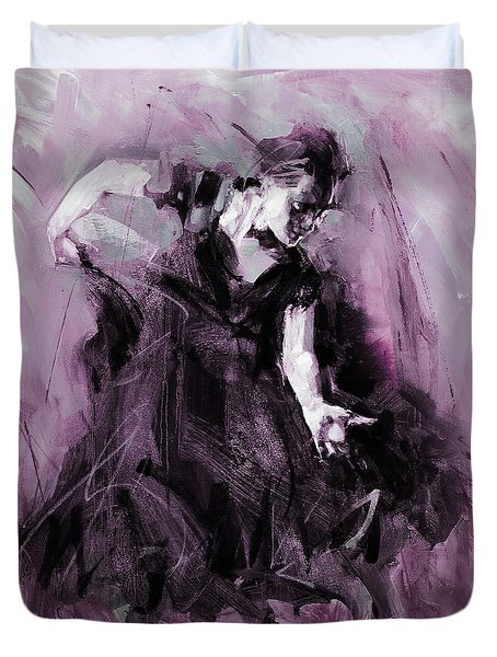 Duvet Cover featuring the painting Flamenco Spanish Dance Art by Gull G