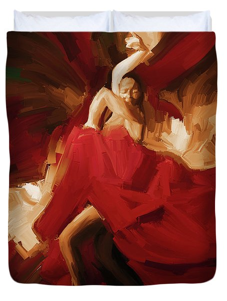 Duvet Cover featuring the painting Flamenco Spanish Dance Painting 01 by Gull G