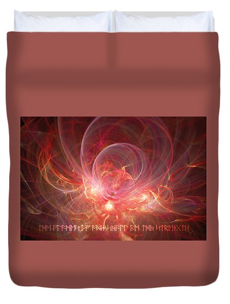 Duvet Cover featuring the digital art Flames Of Odin by Michal Dunaj